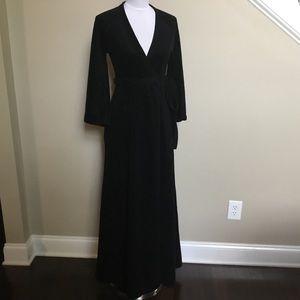 70s MISS DIOR (Christian) black wrap velour robe S